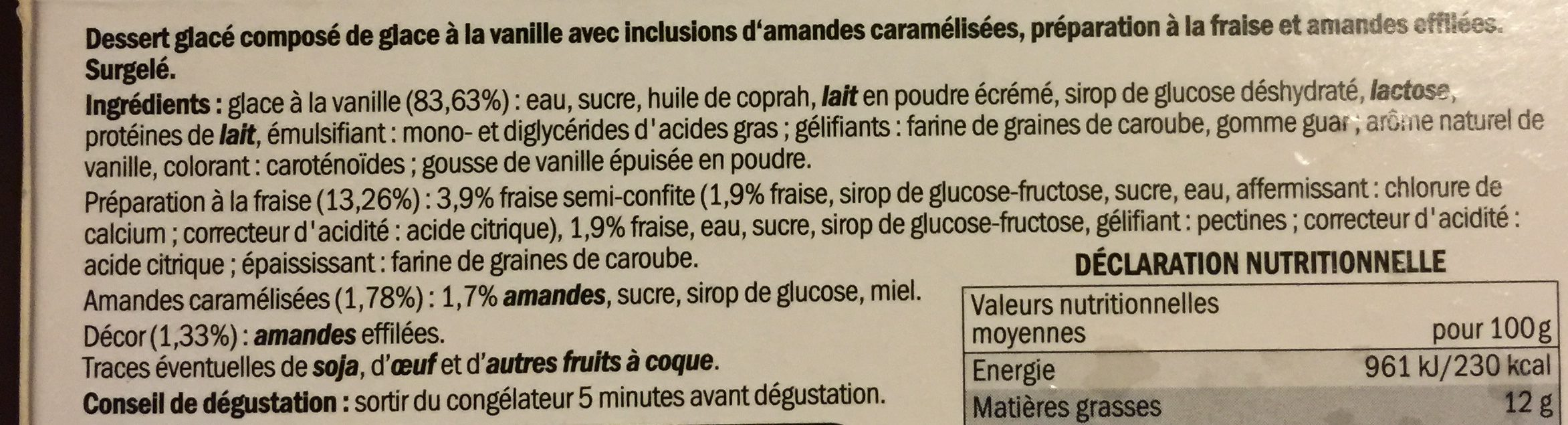 2 verrines glacees facon fraise melba - Ingredients