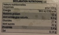 2 verrines glacees facon fraise melba - Nutrition facts