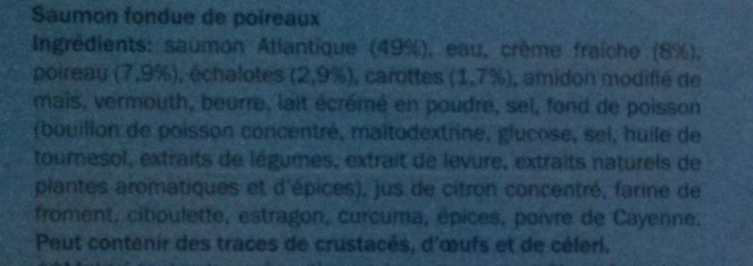Saumon Fondue de Poireaux, Surgelé - Ingrédients