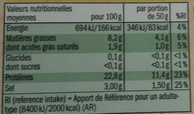 Saumon Fumé Biologique - Informazioni nutrizionali