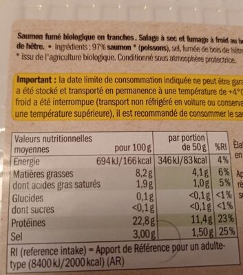 Saumon fumé bio - Informations nutritionnelles - fr