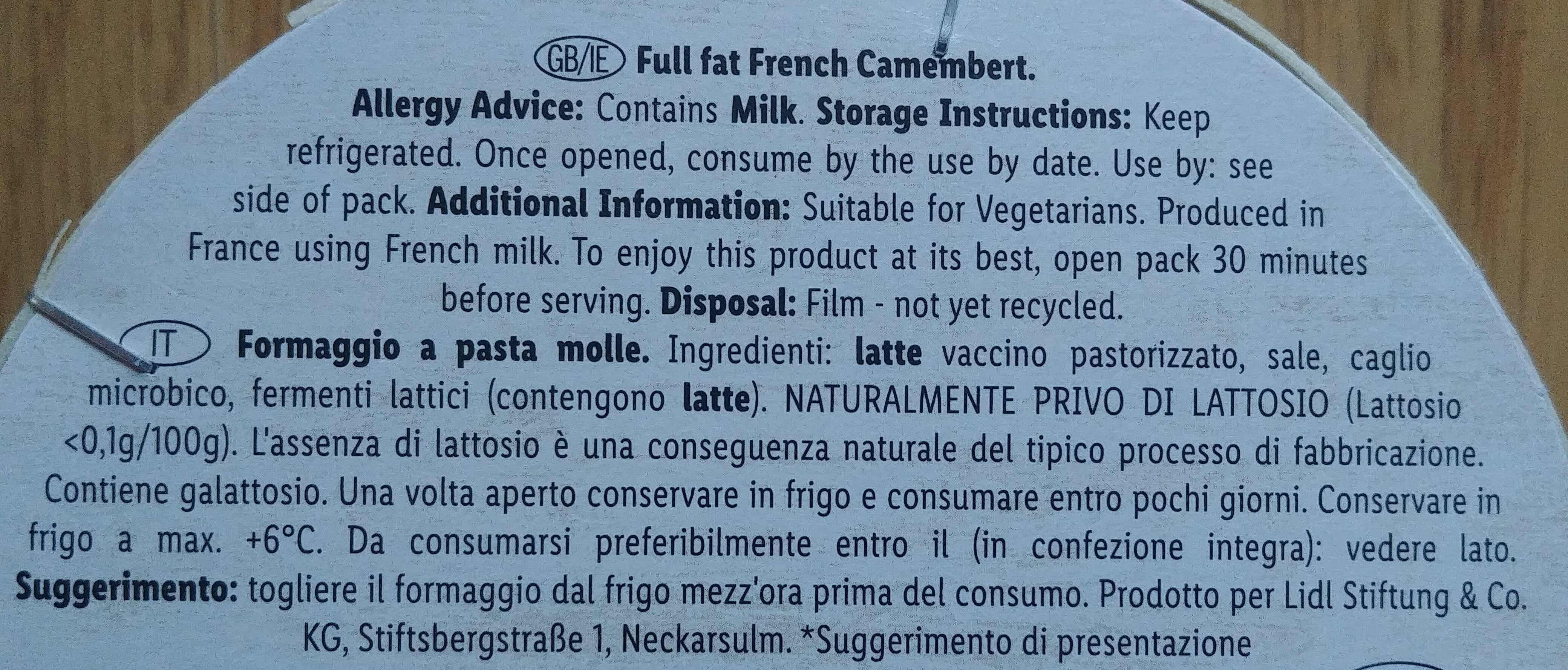 Camembert le Caractère - Ingredients - en
