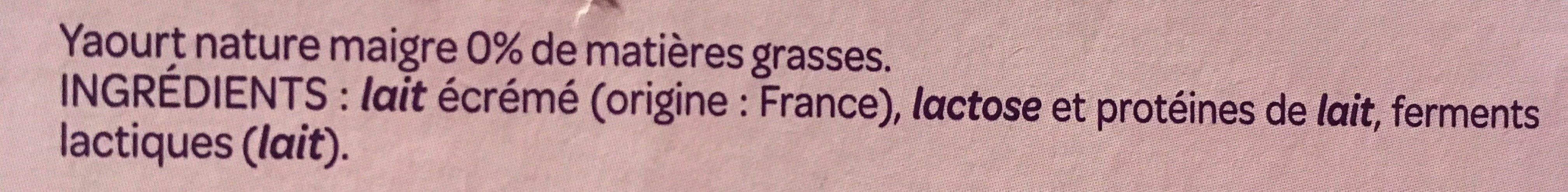 Yaourt nature 0% - Ingrediënten - fr