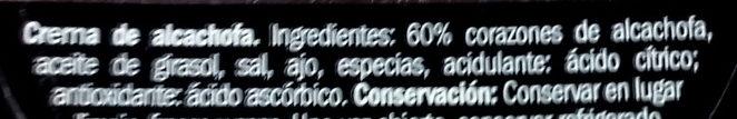 Crema de alcachofas - Ingredients - es