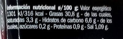 Crema Alcachofa - Información nutricional