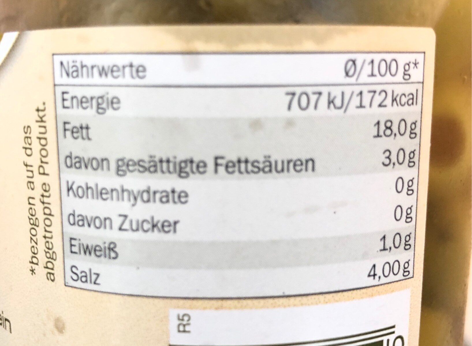 Green olives - Nutrition facts - de
