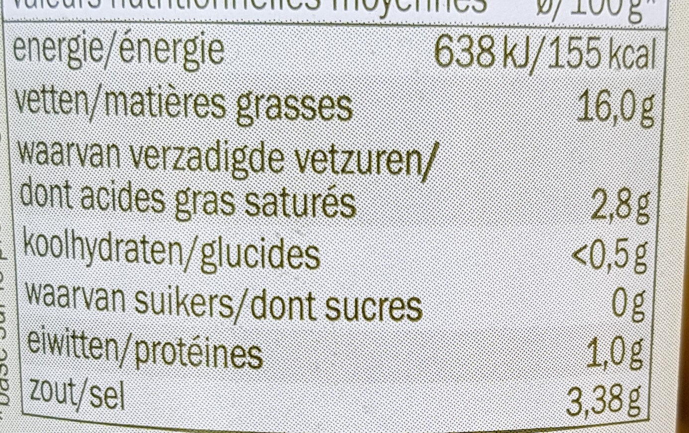 Green olives - Informations nutritionnelles