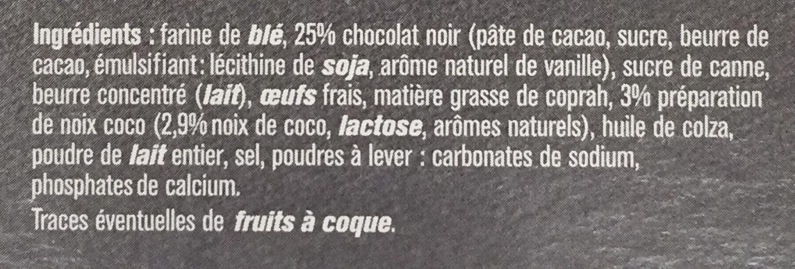 Tartelettes Chocolat - Noix de Coco - Ingrediënten