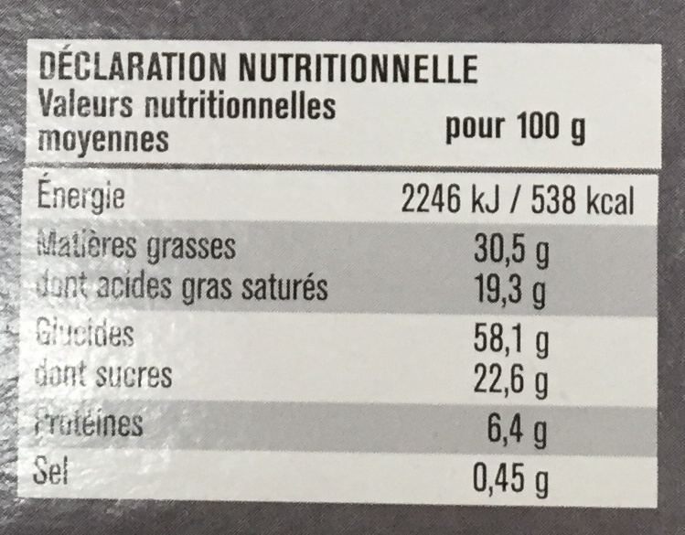 Tartelettes Chocolat - Noix de Coco - Voedingswaarden