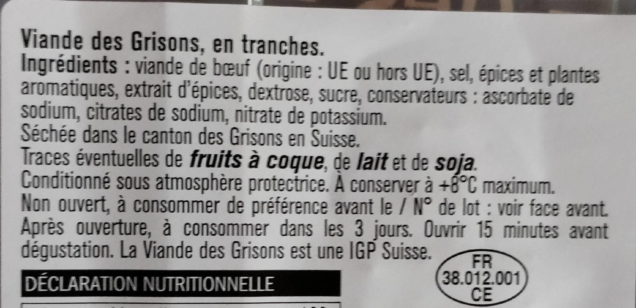 Viande de grisons - Ingrédients - fr