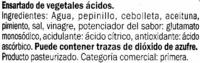 """Surtido de encurtidos en banderillas """"Baresa"""" Dulces - Ingredients - es"""