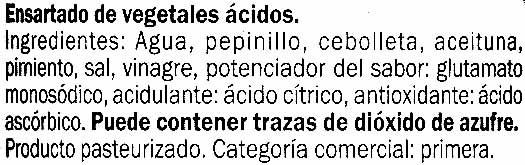 """Surtido de encurtidos en banderillas """"Baresa"""" Dulces - Ingredients"""