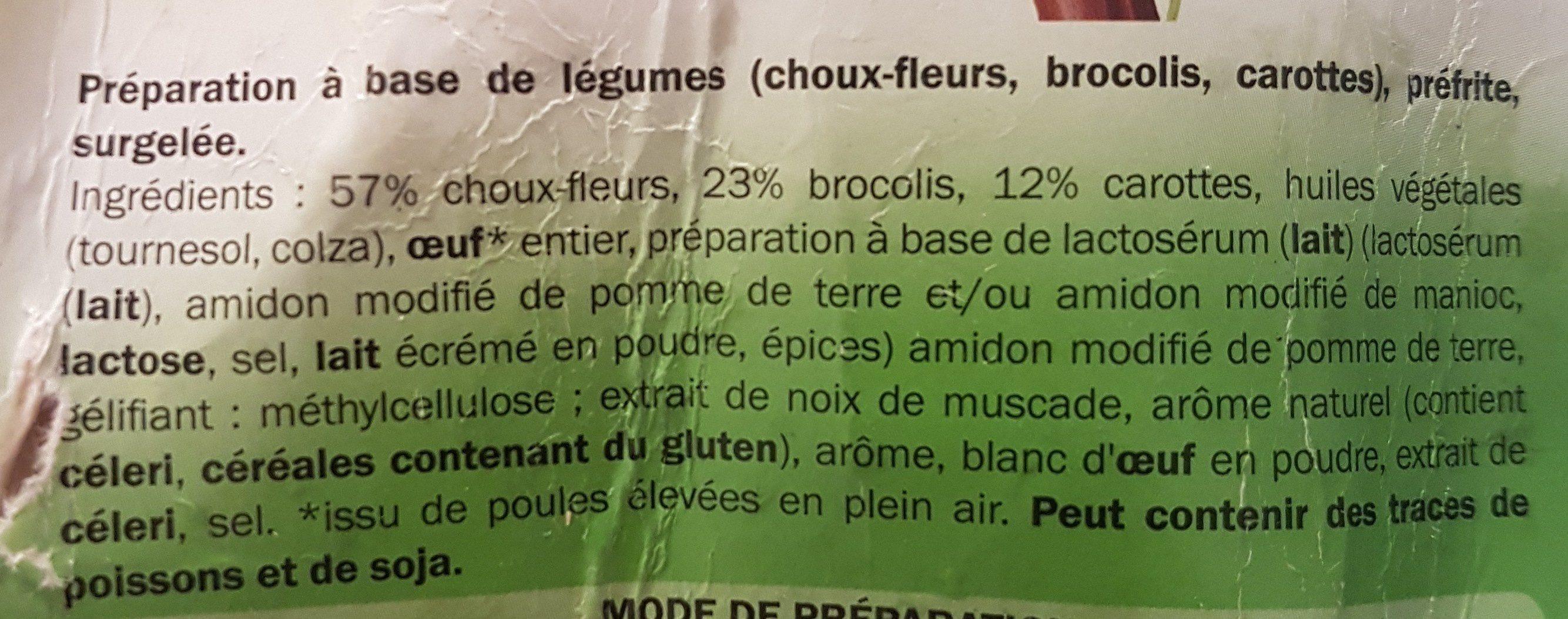 Galettes de légumes - Ingrédients - fr