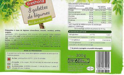 Galettes de légumes - Informations nutritionnelles - fr