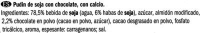 Postre de soja con chocolate - Ingredientes - es
