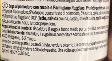 Tomato sauce with arugula and parmigiana reggiano cheese, rucola & parmigiano reggiano - Ingredienti - it