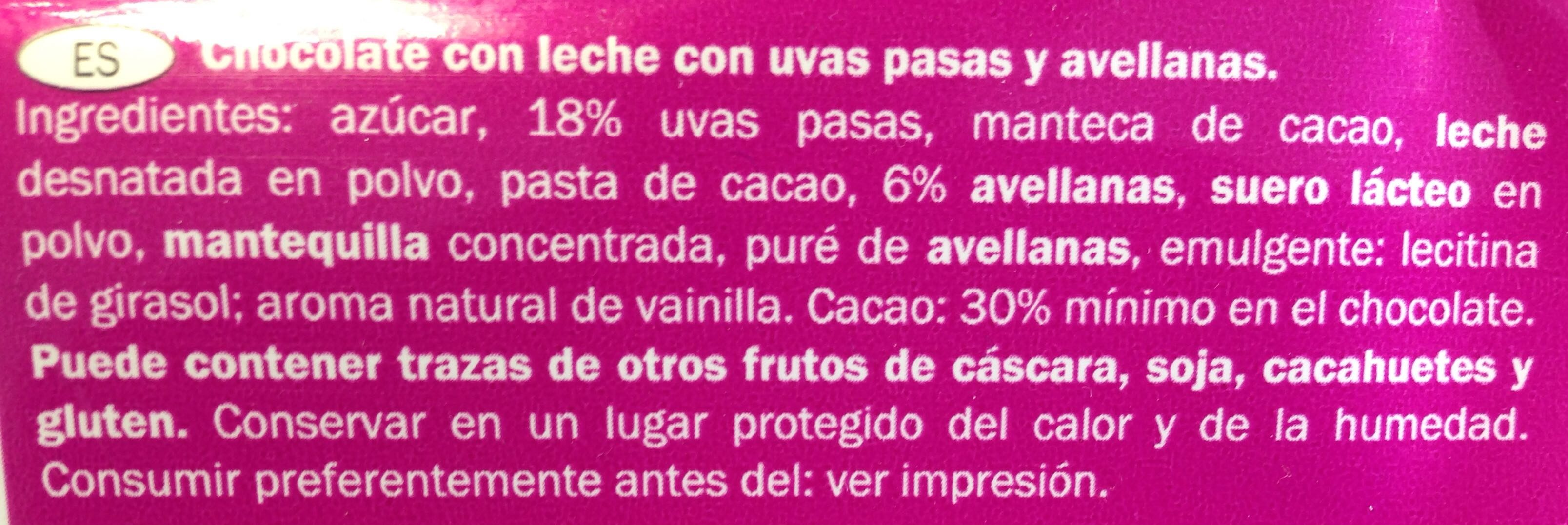 Chocolate Frutos Secos - Ingredientes