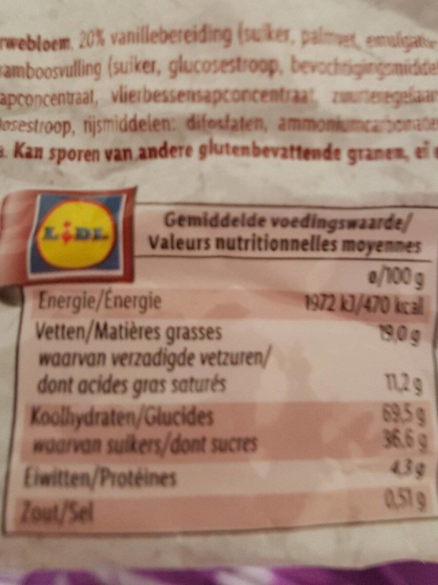 Kex Roll Raspberry & Vanille biscuits - Nutrition facts - fr