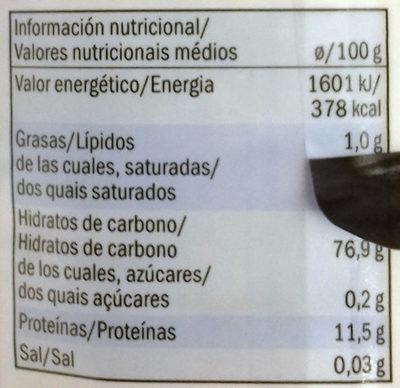 Bulgur - Información nutricional - es