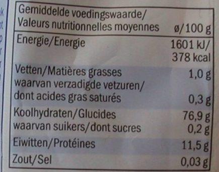 Bulgur - Informació nutricional