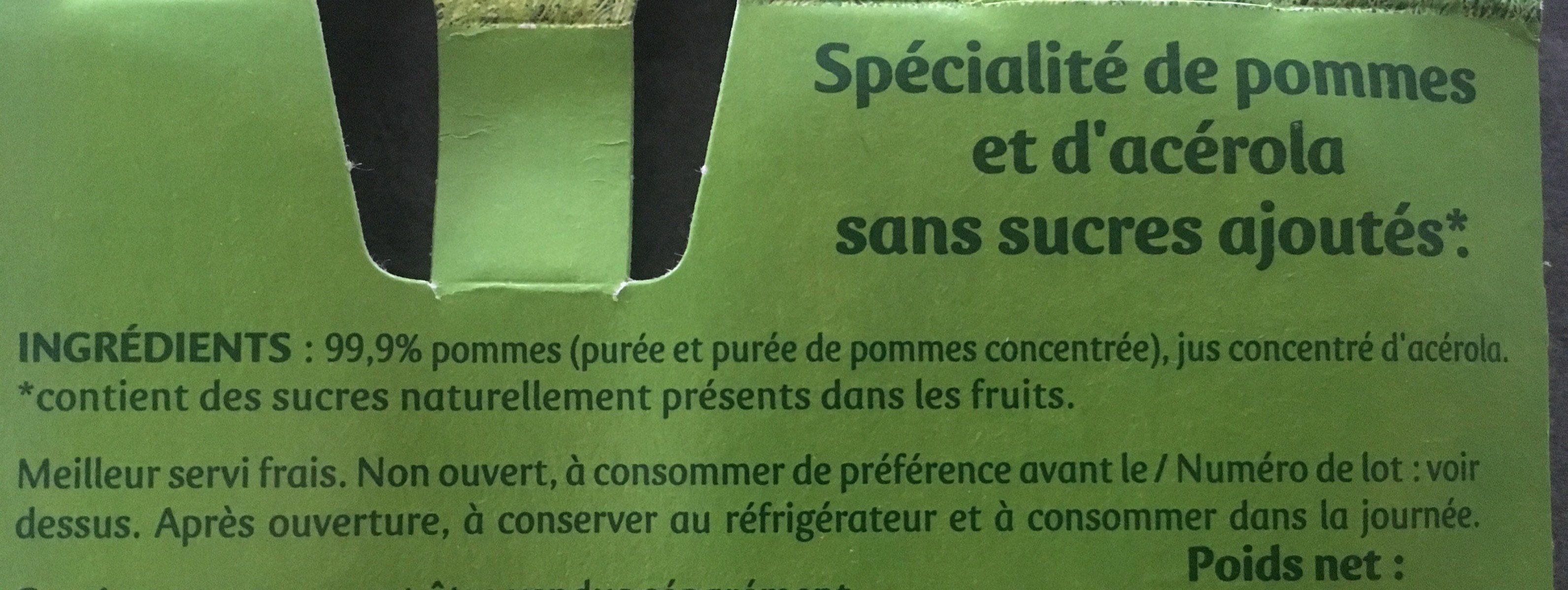 Pommes sans sucres ajoutés pomme - Ingrediënten
