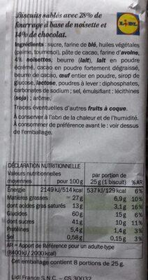 Cookies Noisette - Nutrition facts - en
