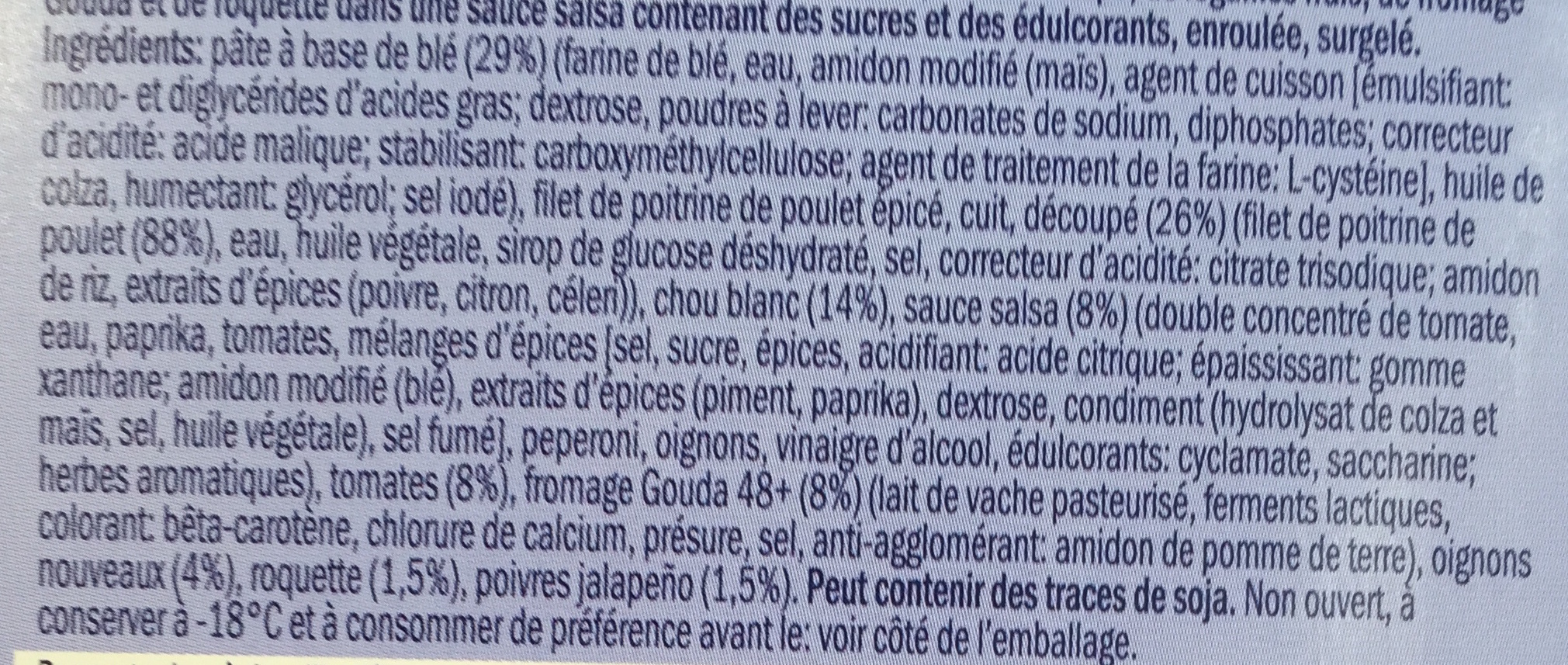 Wrap Chicken Salsa - Ingrédients - fr