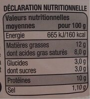 Chèvre  frais - Nutrition facts - fr