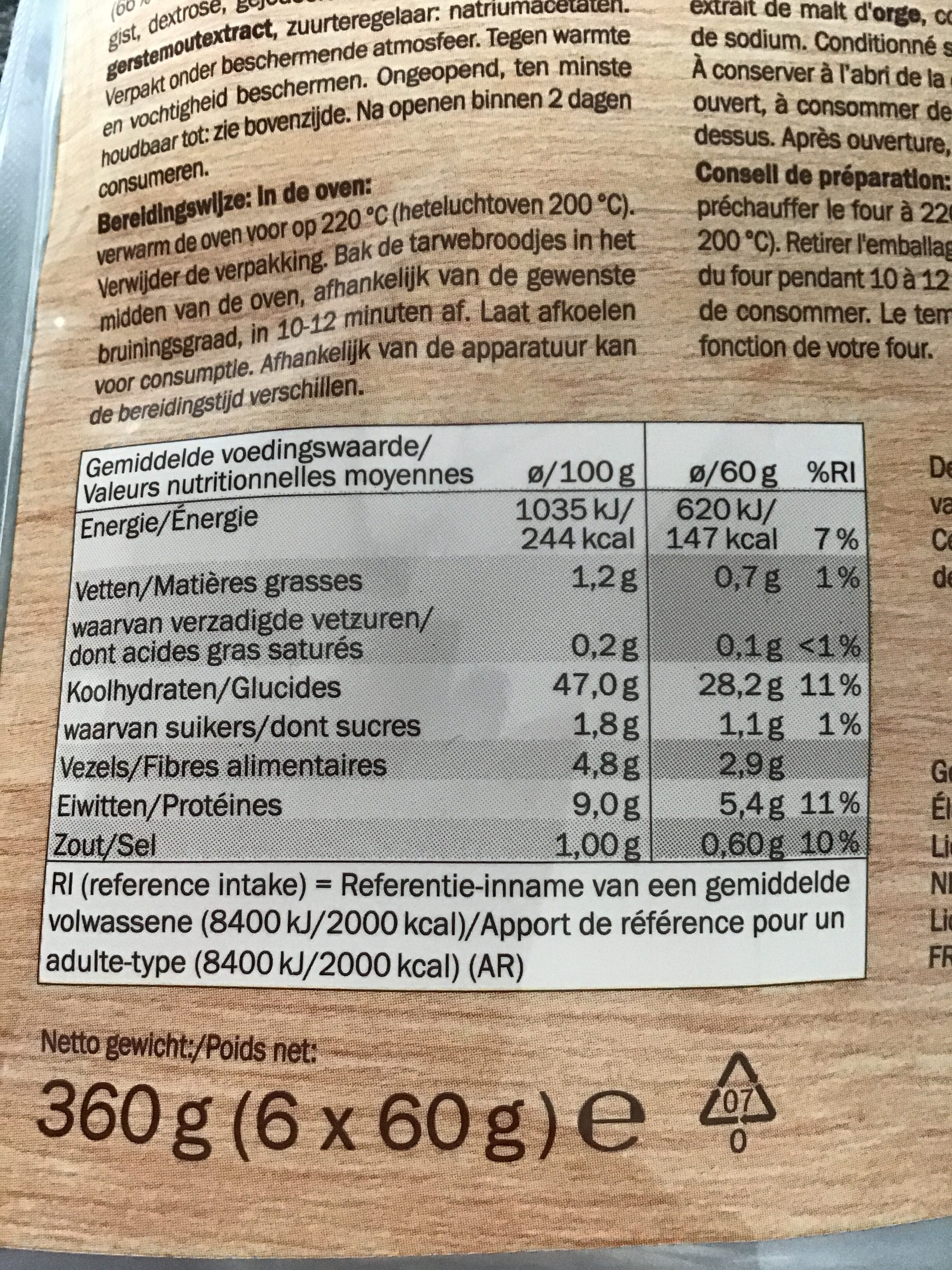Piccolos - Nutrition facts - nl