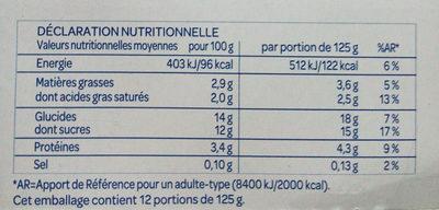 Bifidus saveur Vanille (12 x) - Informations nutritionnelles