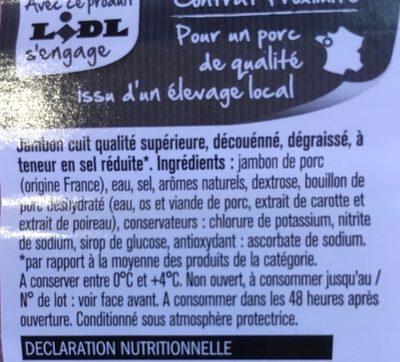 Jambon supérieur (-25 % de sel) - Ingrediënten