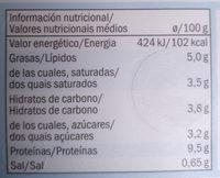 Goldessa Queso fresco light - Información nutricional