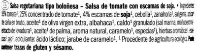 Salsa de tomate boloñesa vegetariana Bio - Ingredients