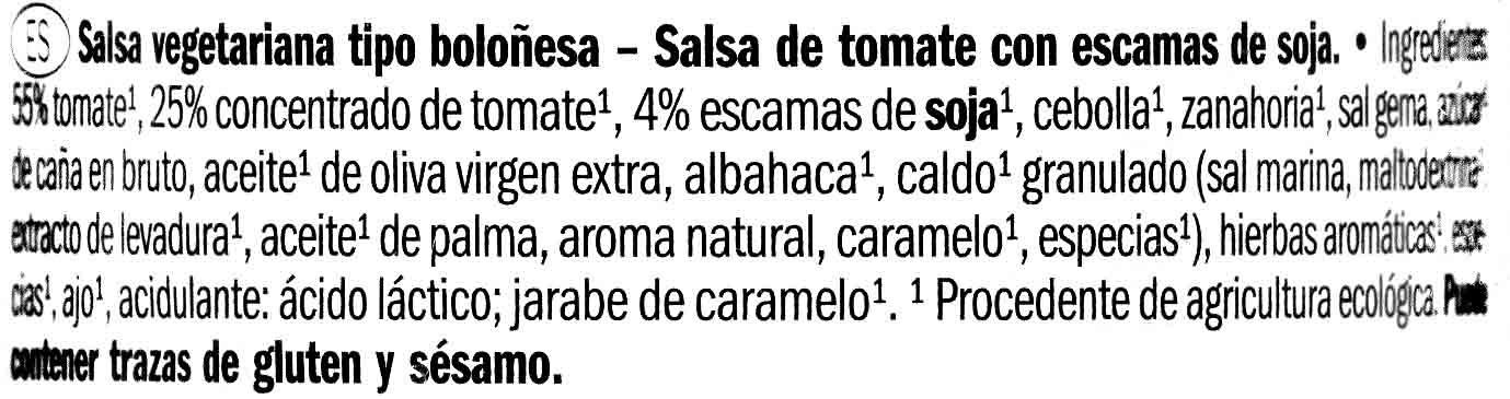 Salsa de tomate boloñesa vegetariana Bio - Ingredientes - es