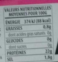 Crevettes 60/80 - Voedingswaarden - fr