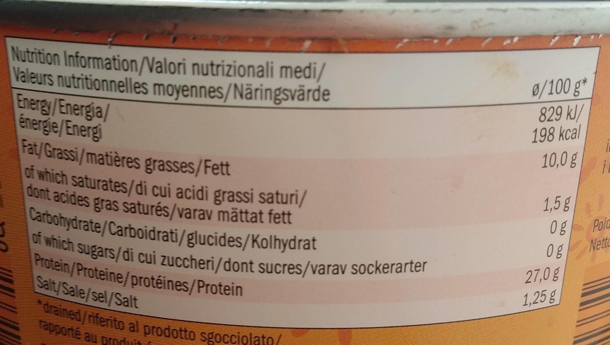 Sol Mar Thon à l'huile de tournesol - Informations nutritionnelles - fr
