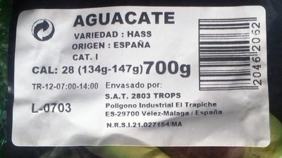 Aguacate - Ingredients
