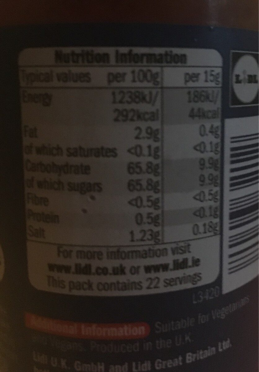 Sweet chili sauce - Nutrition facts - en