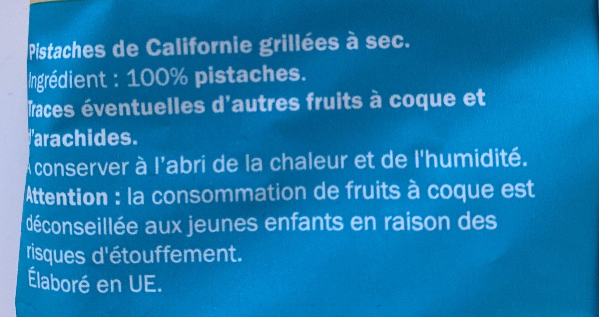 Pistaches de Californie non salées - Ingrédients - fr