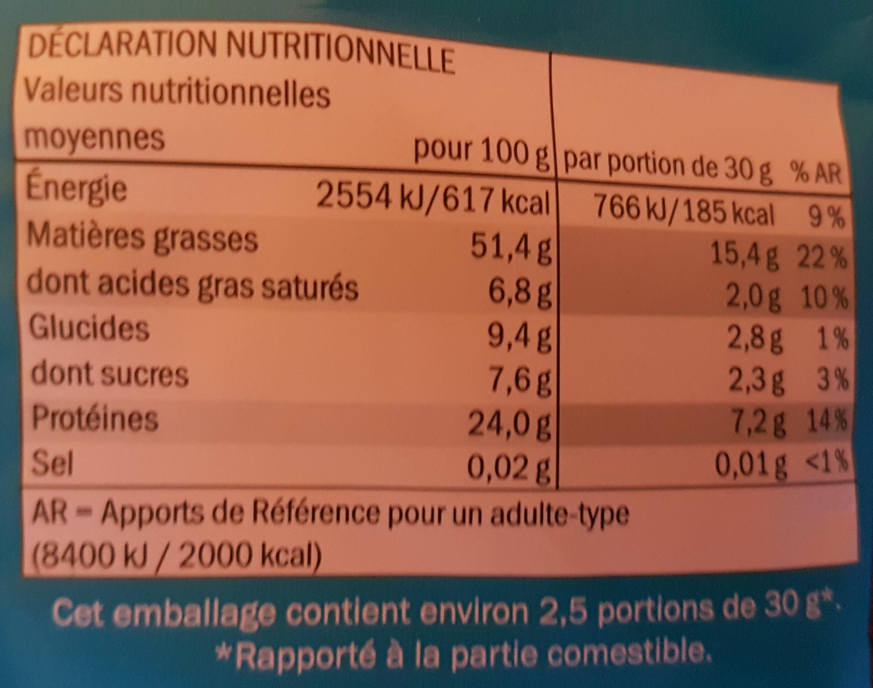 Pistaches de Californie Alestro - Nutrition facts - fr