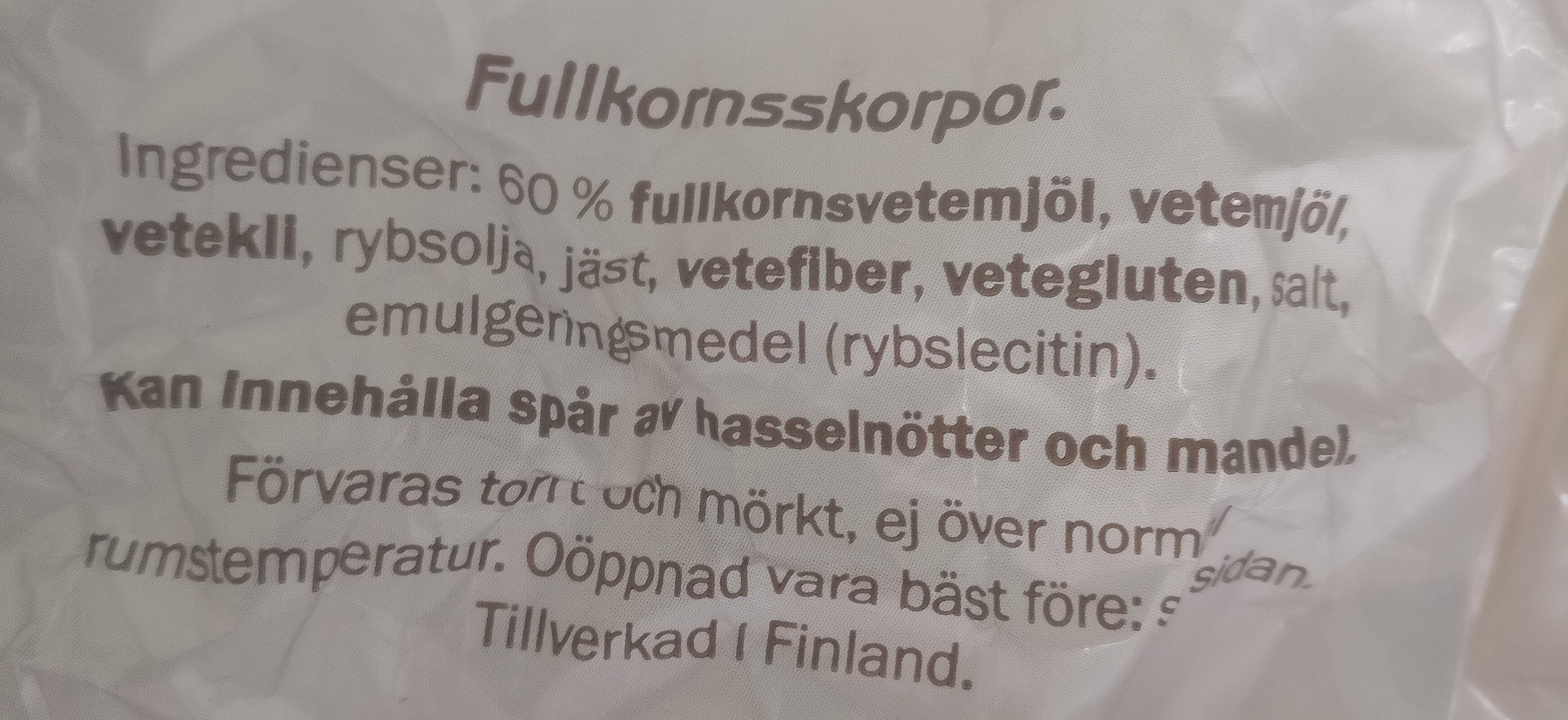 Fullkornskorpor - Ingrédients - sv
