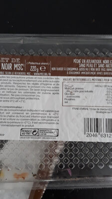 Filet de lieu noir - Nutrition facts