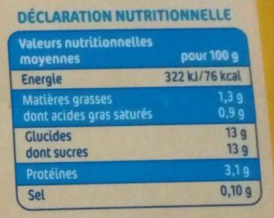 Les Milbo'z à Boire à la Vanille - Informations nutritionnelles - fr