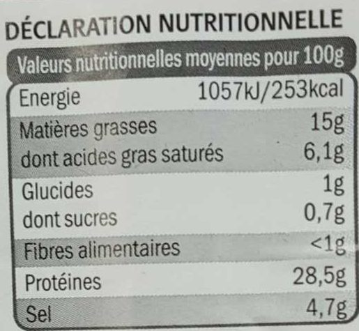 Coppa - Informations nutritionnelles - fr