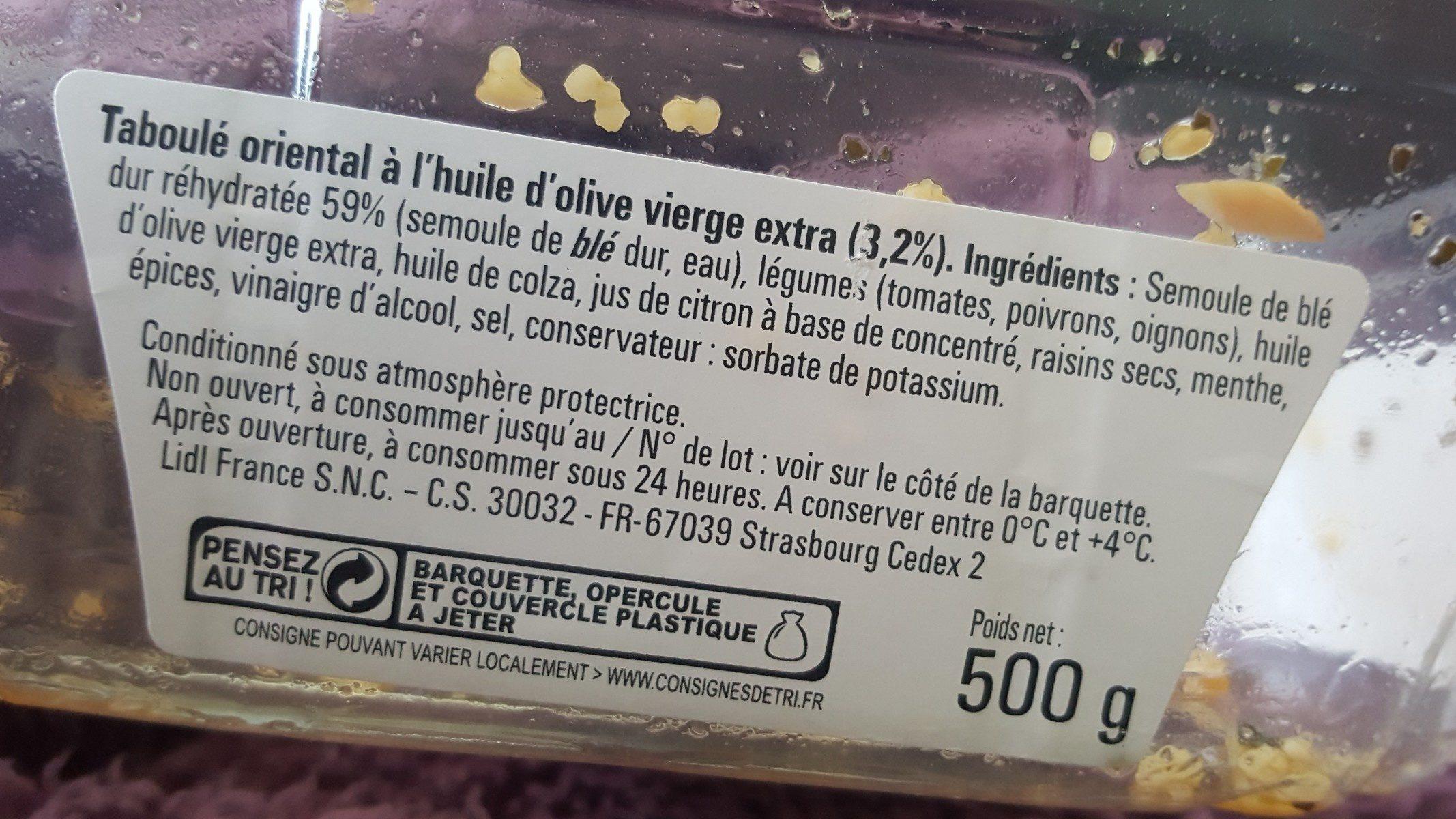 Taboulé poulet ciboulette - Ingrédients - fr