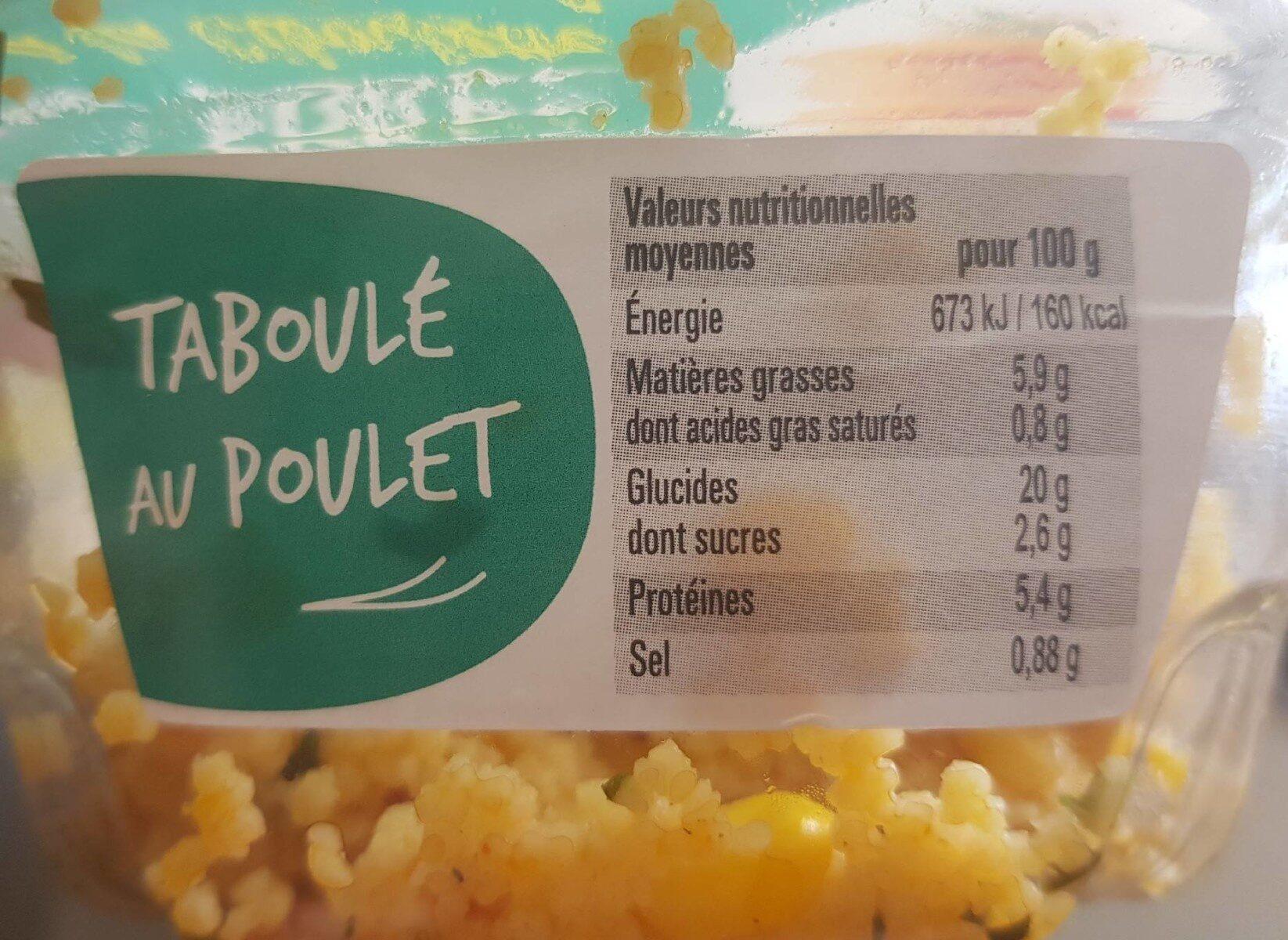Taboulé poulet ciboulette - Informations nutritionnelles - fr