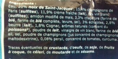 4 Coquilles aux noix de saint Jacques à la bretonnes - Ingrédients