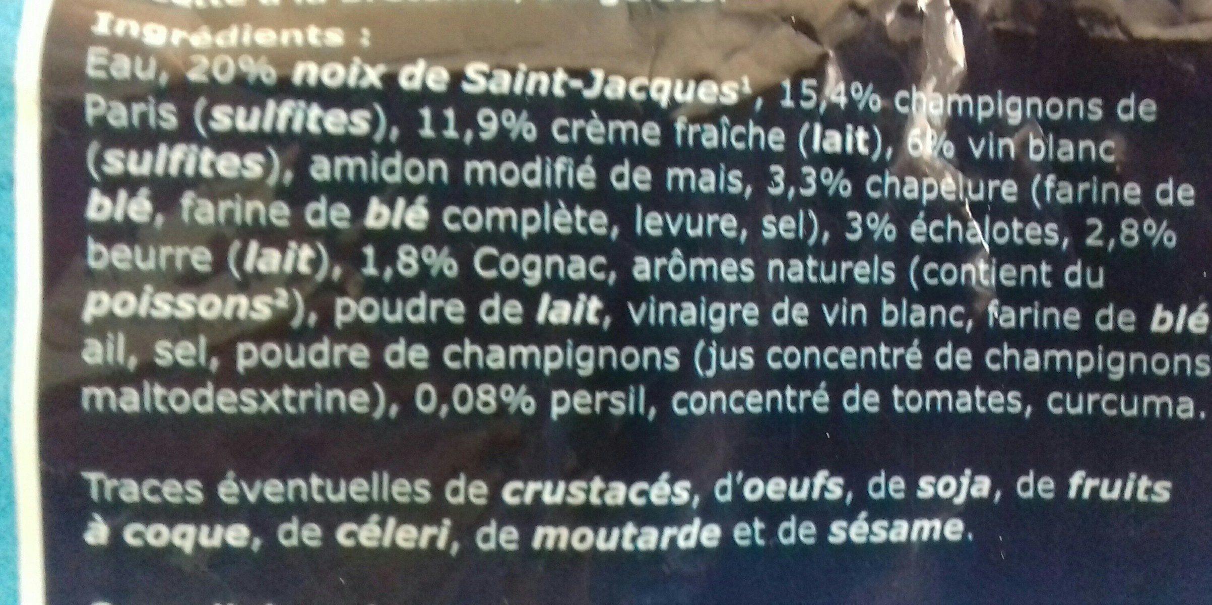 4 Coquilles aux noix de saint Jacques à la bretonnes - Ingredients - fr