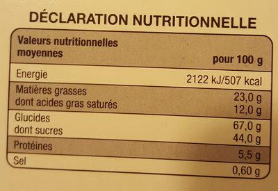 Crêpes dentelle Chocolat noir - Nutrition facts