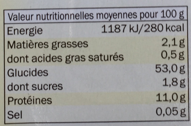 Tagliatelles aux œufs frais - Nutrition facts